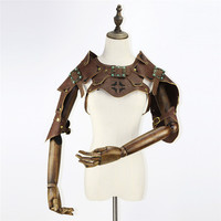 New Women Steampunk Stand Collar Straps Retro Leather Armor Vest Women Gothic Jacket Cape Shawls Halloween Cosplay Props