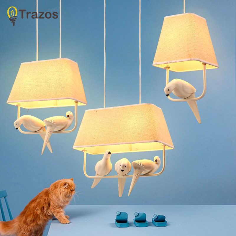 Lámparas colgantes de pájaros, lámpara vintage, pantalla de tela de pájaro de resina para cocina, iluminación de comedor, lámpara colgante para pisos estilo retro