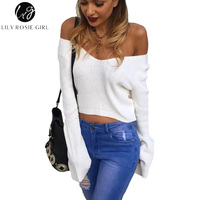 Lily Rosie Girl Sexy Off Shoulder V Neck Women Sweater Flare Sleeve Pullovers Black Fashion Cashmere