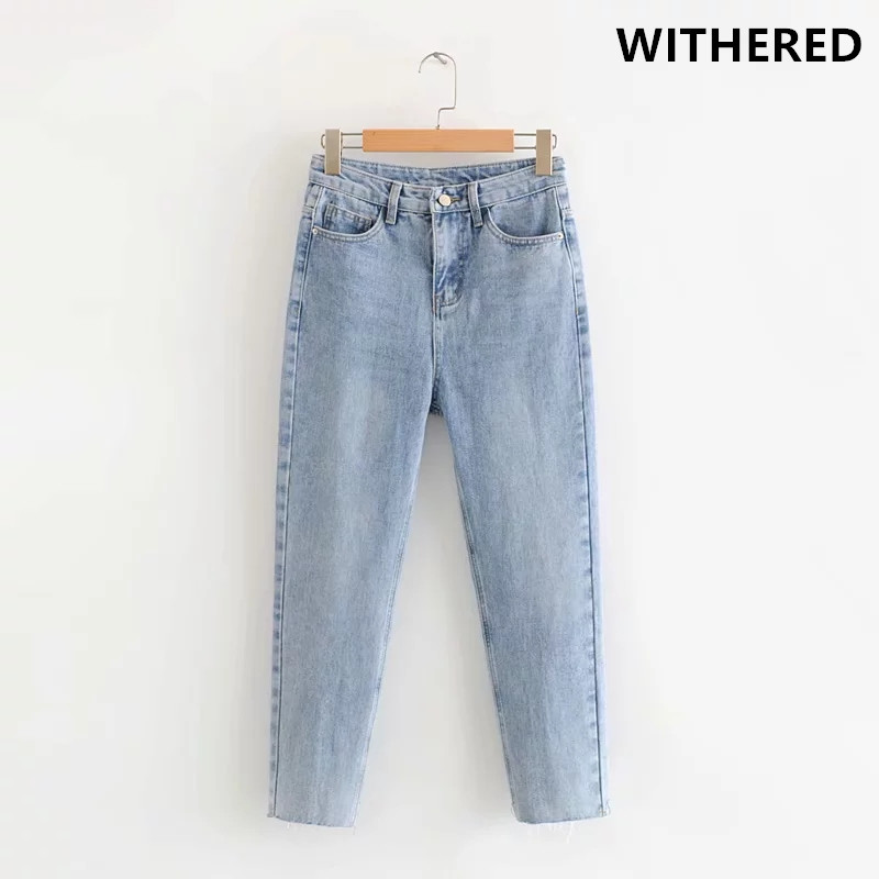 Withered Burrs Mom Jeans Woman High Waist Jeans Ripped Jeans For Women Boyfriend Jeans For Women Plus Size