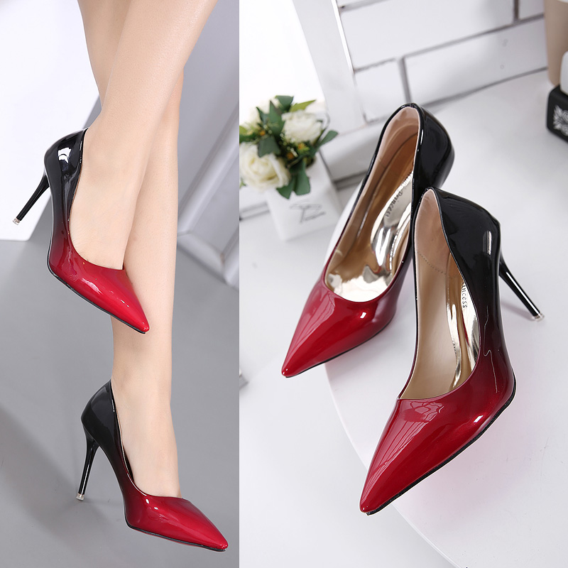 ФОТО 2017 Spring Sexy Girl Fade gradient color PU Leather Thin High Heels Women Pumps Sandals Pointed Toe Woman Wedding Shallow Shoes