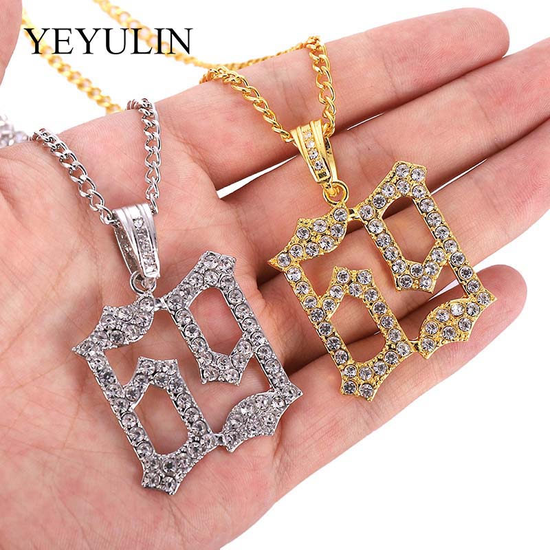 Men Hip Hop Ice Out Bling 69 Rapper Pendant Necklaces Pave Setting AAA Rhinestone Fashion 69 Necklace Hip Hop Jewelry Gifts