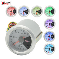 Dragon Gauge 52mm Stepping Motor 7 Color Backlight Auto Car Turbin Meter Unit 1~2 BAR Turbo Boost Gauge
