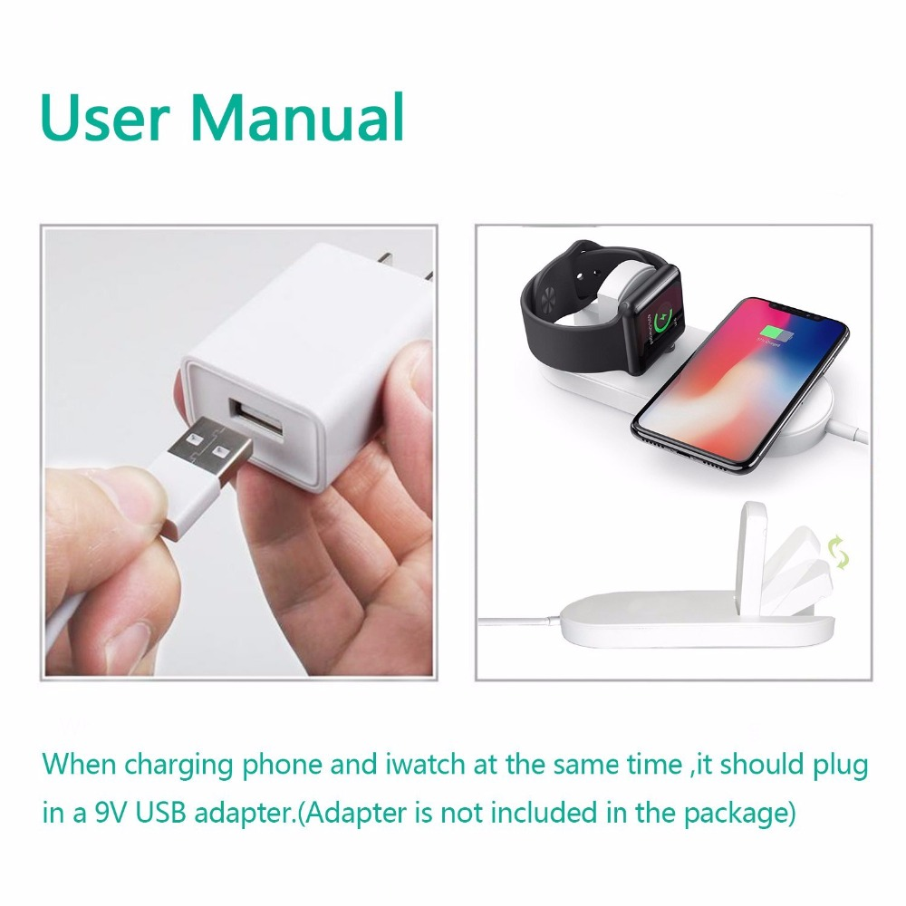 New Portable 2 in 1 Qi Standard Wireless Charger for iPhone X 8 Plus Apple Watch 3 Cordless Powerful Wireless Charging Pad Plate 15