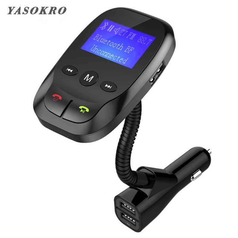 Car Fm Transmitter Bluetooth Wireless In-Car Radio Car Kit AUX Bluetooth Handsfree and Dual USB Charger Support TF Card & U Disk