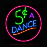 5 Cents A Dance Neon Sign Light Car Neon Bulbs Signage Vintage Neon Signs Garage Real