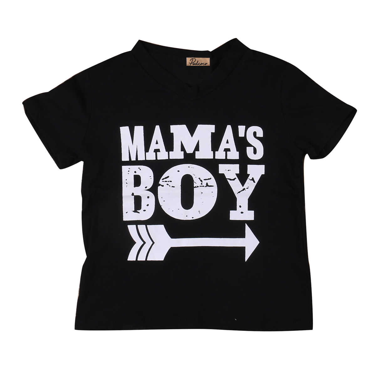 2018 Kids Mama Boy Printed Tops Mama Baby Boys Short Sleeve Arrow Black Cotton T Shirt Summer Casual Clothing SS