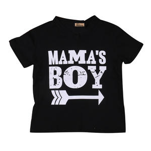 Clothing Tops T-Shirt Black Baby-Boys Short-Sleeve Cotton Summer Mama Arrow SS Printed