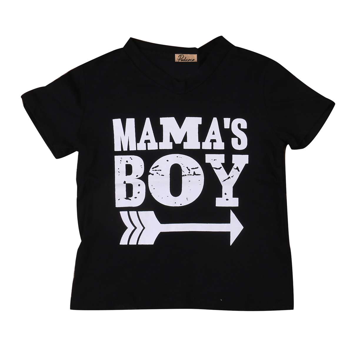 2018 Kids Mama Boy Printed Tops Mama Baby Boys Short Sleeve Arrow Black Cotton T Shirt Summer Casual Clothing SS