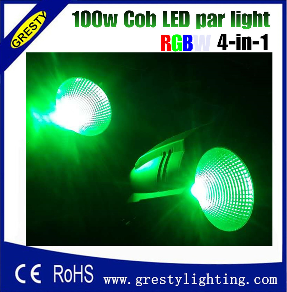 Freeshipping 4PCS 100W RGBW 4IN1 COB Aluminum Stage Led Par Cans 4/8 Channel DMX/Manual/Sound/Master-slave