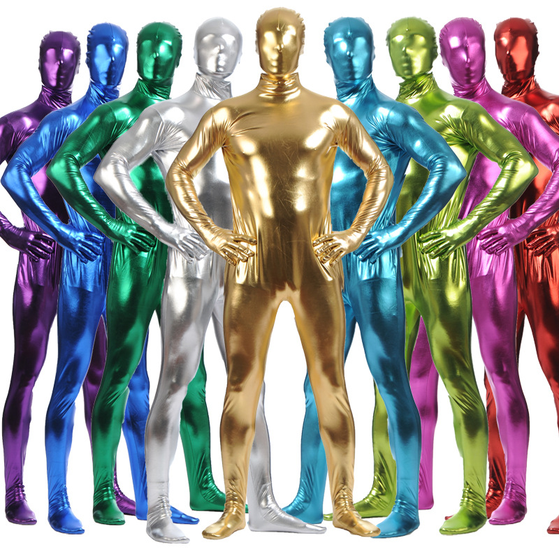 Men <font><b>Lycra</b></font> <font><b>Catsuit</b></font> Spandex Shiny Metallic Zentai Suit Full Body Nylon Second Skin <font><b>Sexy</b></font> Unisex Cosplay Costume Kid Bodysuit Tights image