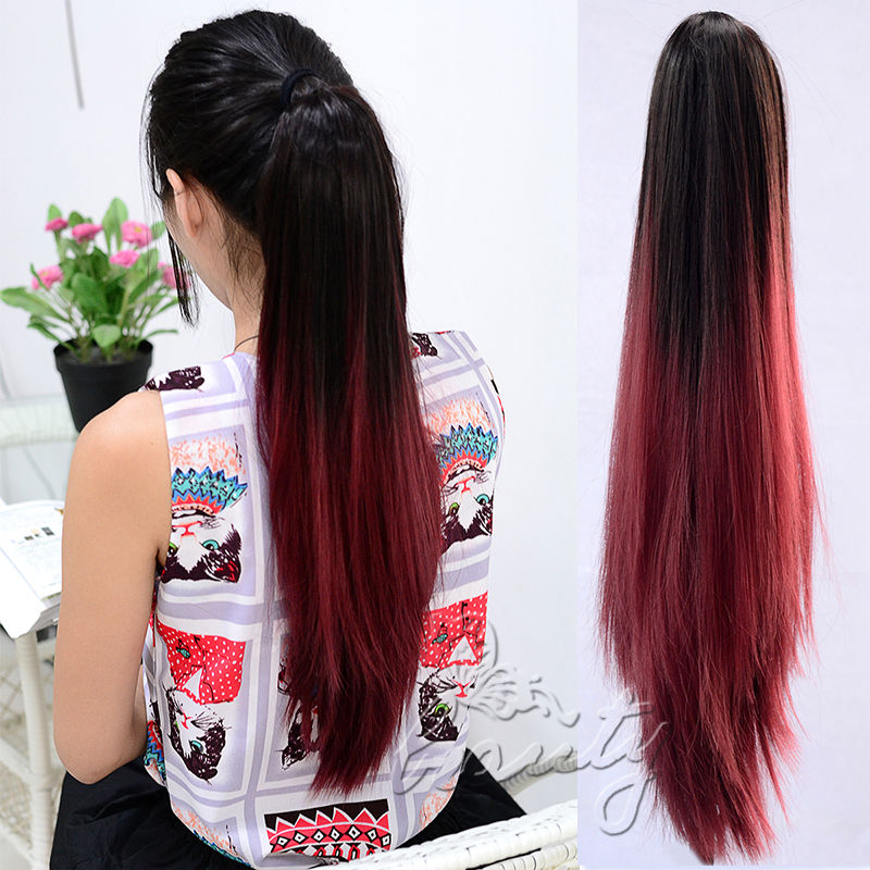 20 straight claw ponytail clip in pony tail hair extensions piece 20 straight claw ponytail clip in pony tail hair extensions piece dark brown to wine red fashion ombre hair tail for party b40 on aliexpress alibaba pmusecretfo Choice Image