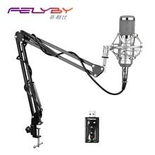 FELYBY Professionelle bm 800 Kondensatormikrofon für computer Audio Studio Gesangsaufnahmen Mikrofon KTV Karaoke + Mikrofon stehen
