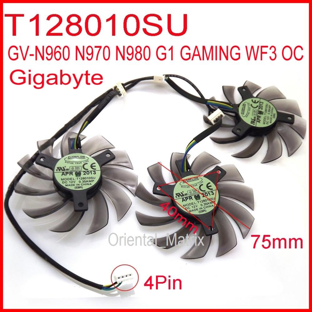 Бесплатная доставка 3 шт. / Лот T128010SU 75 мм 4Pin для Gigabyte GV-N960 N970 N980 G1 GAMING WF3 OC Видеокарта Вентилятор охлаждения