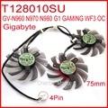Free Shipping 3pcs/lot T128010SU 75mm 4Pin For Gigabyte GV-N960 N970 N980 G1 GAMING WF3 OC Graphics Card Cooling Fan