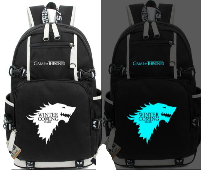 Anime Game of Thrones Ice and Fire Glow In light Backpack Student School Printing Bag Casual