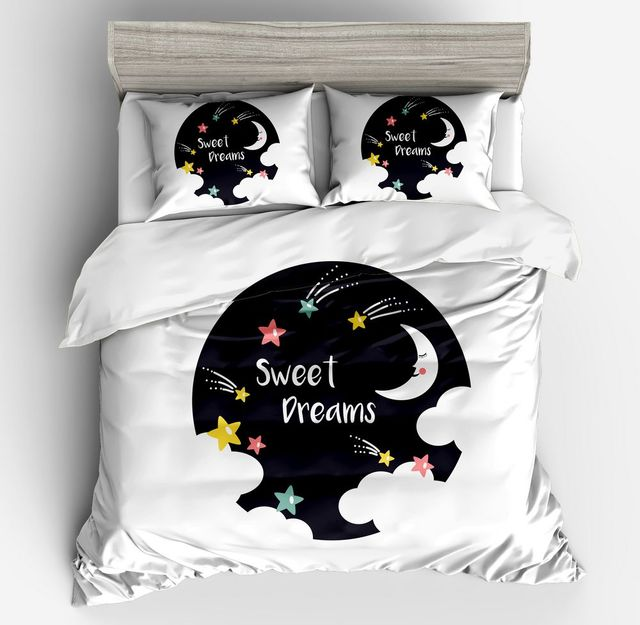 Cartoon Cute Black Starry Sky Bedding Set Polyester Yellow White