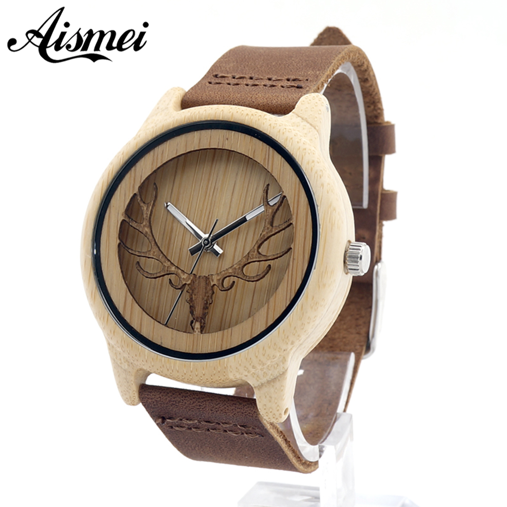Aismei font b Mens b font Deer Head Design Buck Bamboo Wooden Watches Luxury Wooden Bamboo