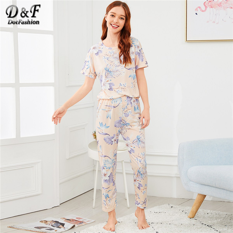 Dotfashion Allover Flower Print Cute   Pajamas   For Women Clothes 2019 New Autumn Casual Nightwear Summer Short Sleeve   Pajama     Sets