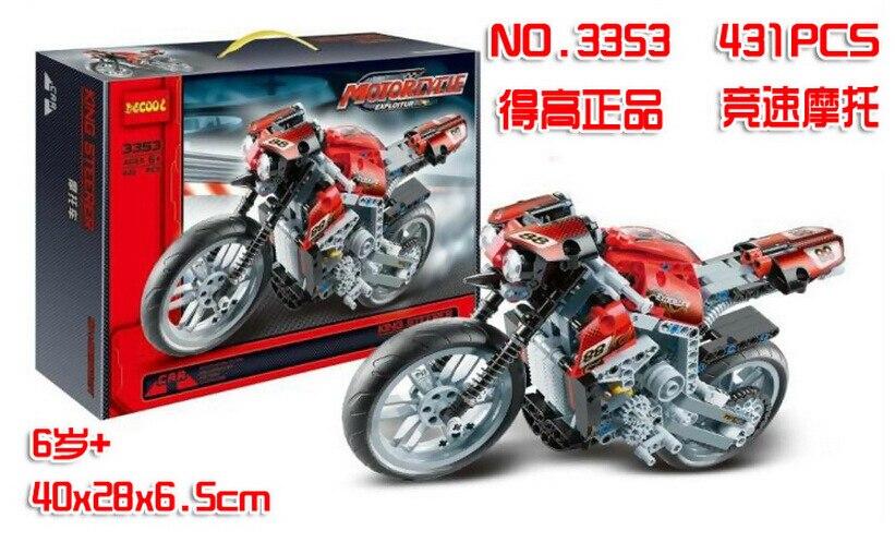 motocicleta velocidad bloques de construccion decool 3353 Exploiture modelo regalo del muchacho racing 431 unids tecnologia set