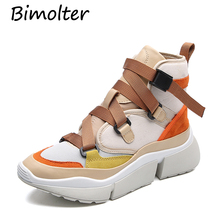 Bimolter New Fashion Genuine Leather+Canvas Clunky Women Vulcanize Shoes Female Platform Breathable Mixed Color Sneakers LFEB012