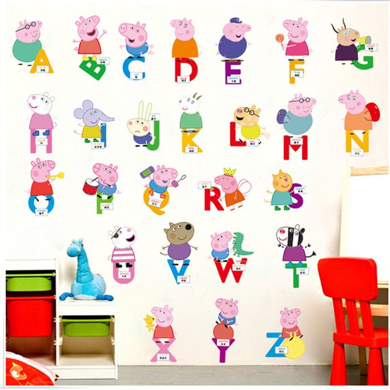 Aliexpress.com : Buy Cartoon Height Peppa Pig Pink Family PVC Decals  Adhesive Wall Stickers Mural Home Decor Kids Boy Bedroom Nursery Birthday  Gift From ... Part 76
