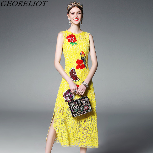 9fe150aafd04 Brand Fashion Yellow Lace Dress 2017 New Designer Runway Women Vintage  Flower Embroidery Evening Party Dresses Vestidos Mujer