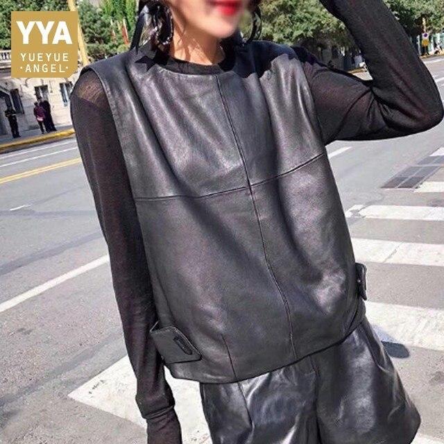 Women Genuine Leather Waistcoat Sheepskin Loose Fit Pullover Sleeveless Jacket Lady Autumn Short Leather Vest Streetwear Tops