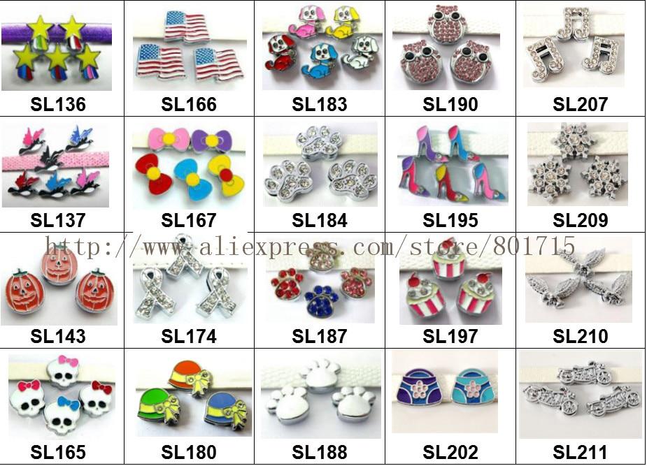 d64a8198b9 Novos estilos de 20 estilos para sua escolha! 5 pcs coloridos encantos de  slides Jóias Encontrar fit 8mm pulseira chaveiro colar de estimação