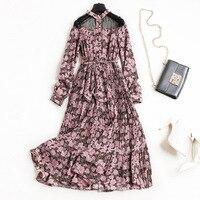 새로운 2018 봄 여름 패션 꽃 패턴 인쇄 쉬폰 긴 소매 드레스 섹시한 블랙 메쉬 우아한 주름 드레스 핑크 레드