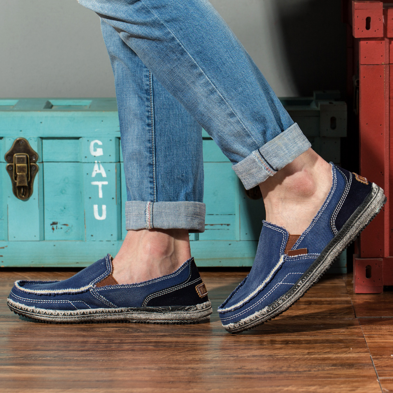 Image 3 - classic canvas shoes men lazy shoes blue grey canvas moccasins men slip on loafers washed denim casual flats big size 46-in Men's Casual Shoes from Shoes