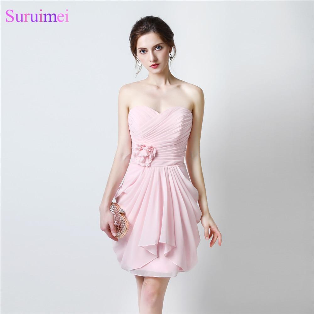 Pearl Pink Bridesmaid Dresses Sweethear Knee Length Chiffon Short Light Pink Brides Maid Dress Maid Of Honor