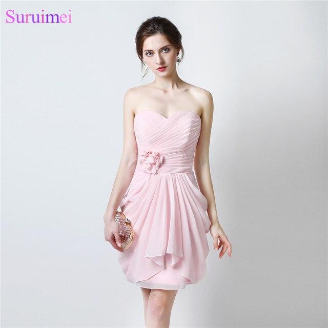 Pearl Pink Bridesmaid Dresses Sweethear Knee Length Chiffon Short ...