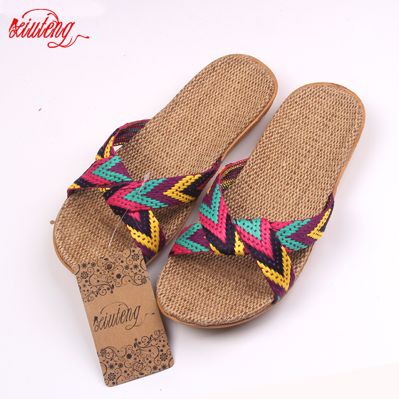 2016 Fashion Flax Home Slippers Indoor Floor Shoes Cross Belt Silent Sweat Slippers For Summer Women Sandals