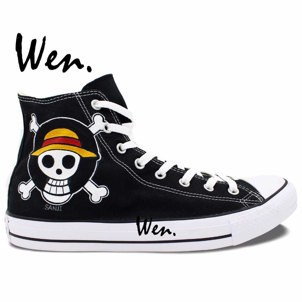 1ff79262c63e Wen Anime Sneakers Hand Pained Shoes One Piece Sanji Jolly Roger Cosplay  Woman Man s Black High Top Canvas Sneakers