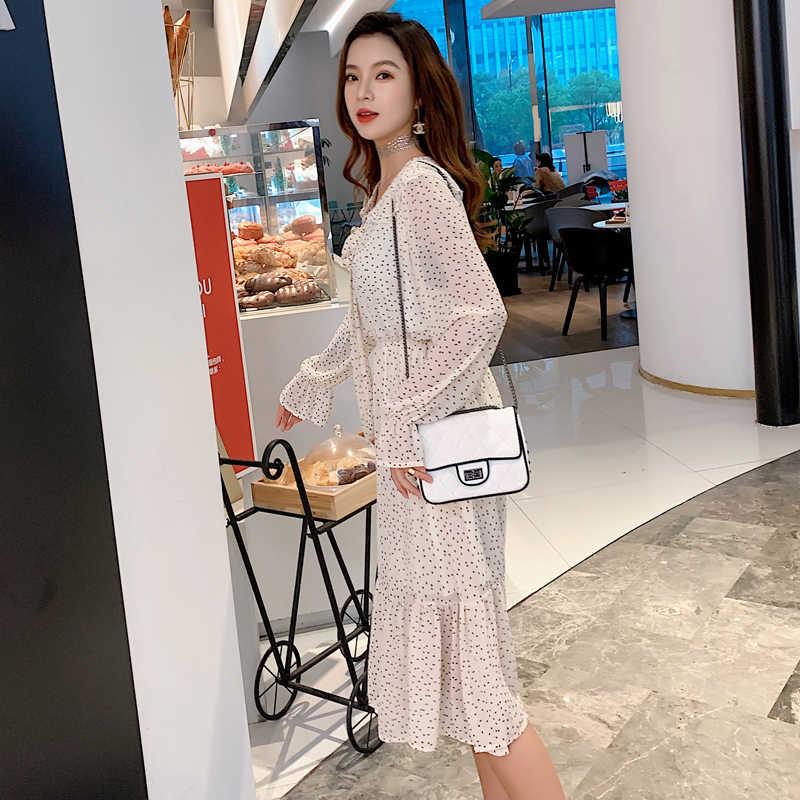 BGTEEVER двойной-слойный воротник на шнуровке трапециевидной формы в горошек с Для женщин длинное платье длинный рукав с рюшами, женское шифоновое платье 2019 Для женщин Vestidos