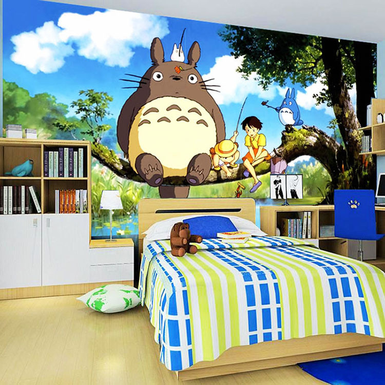 Cute Japanese Anime Totoro Wall Mural Silk Wallpaper