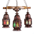 Exotic Turkey Bohemia Antique Bamboo Iron Galss Led E27*3 Heds Pendant Light For Bar Restaurant Coffee Shop Hanging Lamps 1798
