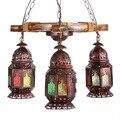 Turquia exótico boemia antigo de bambu luz pingente de ferro galss led e27 * 3 heds para bar restaurante coffee shop hanging lâmpadas 1798