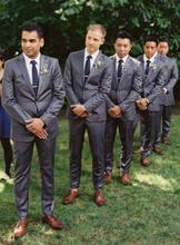 2016 New Custom Made Two Buttons Gray Suits Luxury Bridegroom Tuxedos Men Suits Groom Wear (Suit+Pants+Vest)