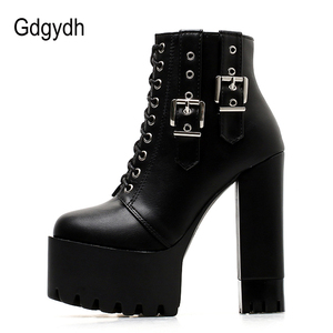 Image 3 - Gdgydh Women Lacing High Heel Ankle Boots Platform Female Boots Shoes Buckle Round Toe Ladies Party Shoes Rubber Sole Promotion