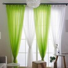 Cortinas transparentes de tul para sala de estar, dormitorio para niños, cortina romántica para ventana, color blanco y verde
