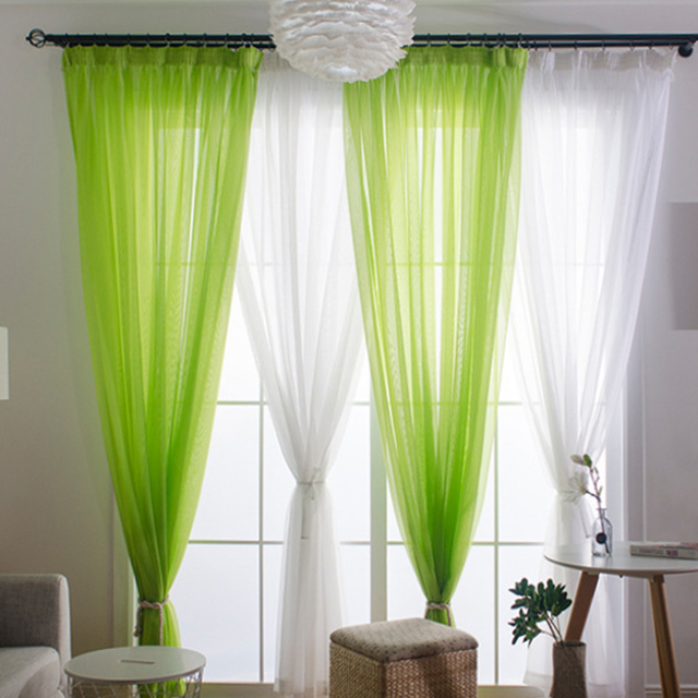 European Tulle Curtains Sheer Curtains For Living Room Kids Bedroom Voile Romantic Window Curtain Tie Backs White Green   Drapes