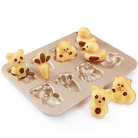 Delfenfen 8 Cups Cookies Cake Mould Bread Mold Baking & Pastry Tools Carbon steel Cartoon 3D Shapes duck Bear radish