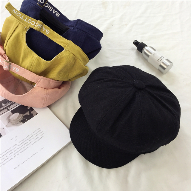 2017 Autumn Winter New Hot Fashion Female Letters Simple Solid Color  Vintage Caps Hats Women Casual Warm Classic Berets 4752aaaaed4f