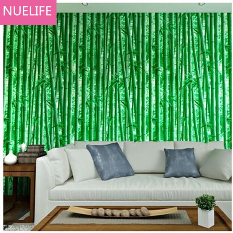 0 53x10 mt 3d green bambus muster verdickt pvc tapete arbeitszimmer. Black Bedroom Furniture Sets. Home Design Ideas