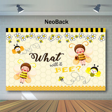 NeoBack Sweet Bee Children's Birthday Photography Backdrops Cute Bee Baby Shower Background for Photo Elf Yellow Backdrop mehofoto bee baby shower backdrop a sweet little bee sunflower photography background honey bumble bee baby shower party banner