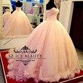 Blush Pink Vestidos de Quinceañera Puffy Balón Vestido Largo Cariño Apliques de Perlas Real Fotos vestidos de Baile 2017 Vestido 15 Anos
