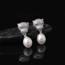 [MeiBaPJ] 925 Silver Freshwater Pearl Stud Earring Natural Pearl Leopard Earrings Pearls Jewelry For Women