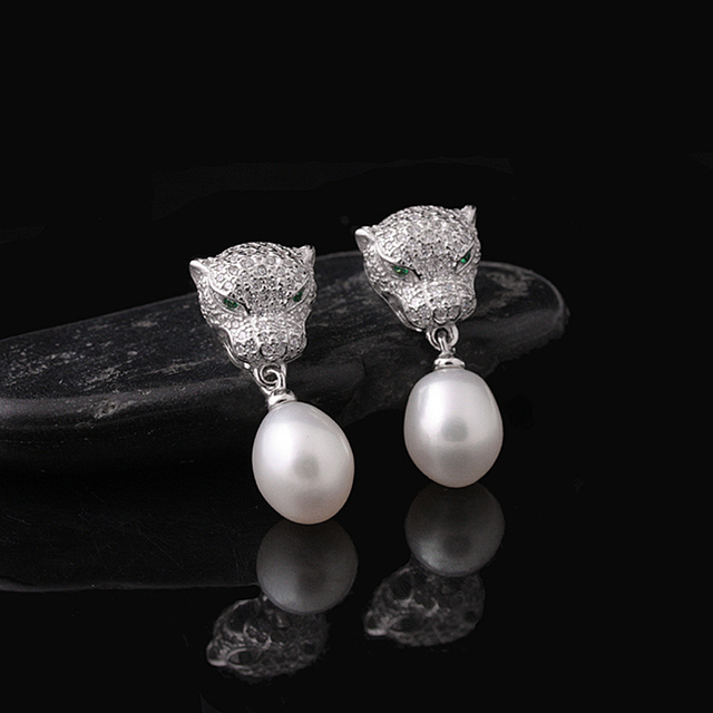 [MeiBaPJ] 925 Silver Freshwater Pearl Stud Earring Natural Pearl Leopard Earrings Pearls Jewelry For Women